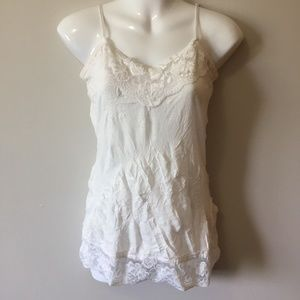 Tops - Maurices White Crinkled Lace Camisole